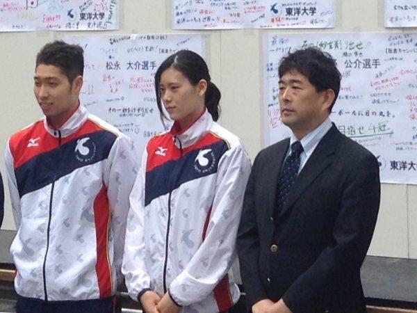 【競泳】平井・萩野・内田、五輪壮行会で活躍への意気込みを語る